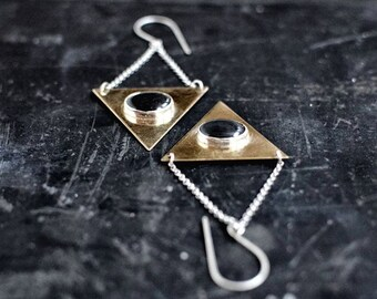 Golden Triangle, Geometric Earrings // black onyx gemstone, silver, brass // Minimal Elegant