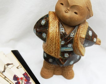 Japanese Clay Figurine - Short and Stout - Glazed and Matte Pottery - Stamped Maker's Mark - Tan, Brown, Rust - Simple, Minimalist Style