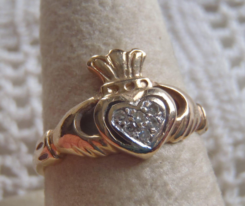 vintage claddagh ring 10k gold diamond accents. Black Bedroom Furniture Sets. Home Design Ideas