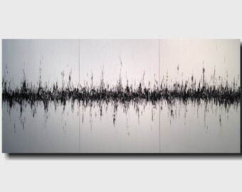 Original Large Abstract painting - 36 X 72 -by Artist JMJartstudio-My Heart Beats for you-Wall art-wall decor - black and white painting-