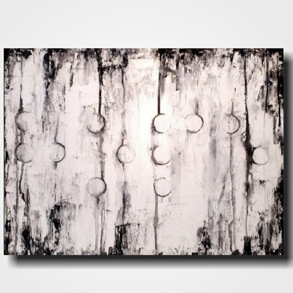 Original Large Abstract Braille painting - 18 X 24 Inches-by Artist JMJartstudio- HOPE -Wall art-wall decor - Black and White custom