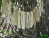 Rustic Prairie Style Burlap and Lace Garland Cream Ivory Natural Rustic Wedding Chair Garland