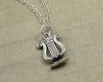 Musical Lyre Necklace, Silver Musical Lyre Charm on a Silver Cable Chain