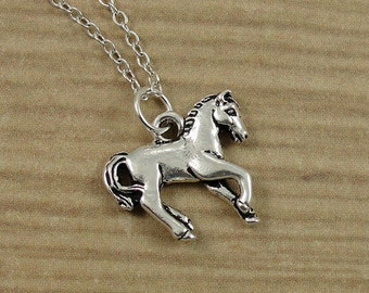 Horse Necklace, Silver Horse Charm on a Silver Cable Chain