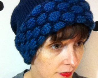 Knit Hat With Blue Polka Dots