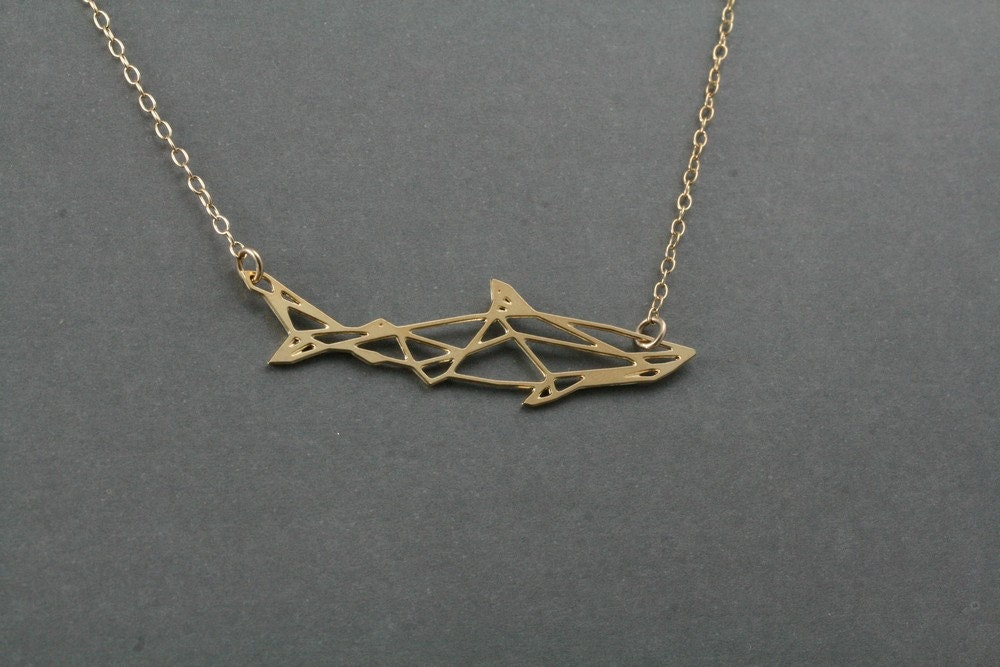 geometric shark necklace shark shark by bonnyrabbitboutique