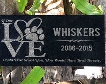 Pet Headstones LOVE Heart Paws Pet Grave Markers Memorial Stone Garden Plaque Custom Engraved If Our Love Could Have Saved You Saying