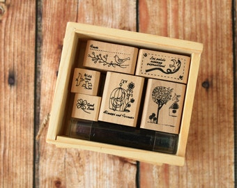 Shinzi Katoh BIRD CAGE rubber stamps set