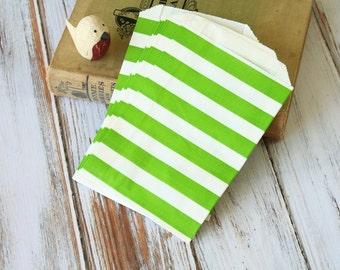 LIME Green Big STRIPE Paper Bags