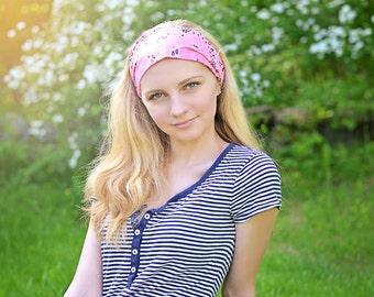 Strawberry Pink Women Headband Wide Headband Headwrap Fabric Headband Pink Bandana Headband Hippie Headband Hair Band (#4016) S M