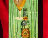 beer - original painting with 1950s collage