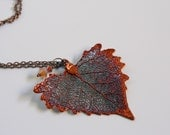 Copper Cottonwood Leaf Necklace, Real Leaf Jewelry