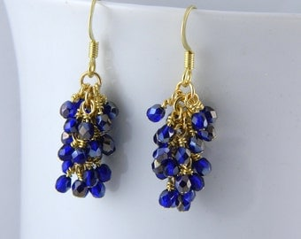 Cobalt Blue Cluster Dangle Earrings in Gold with Surgical Steel Ear Wires