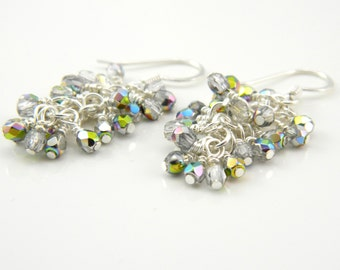 Iridescent Metallic Cascade Earrings, Silver Cluster Earrings