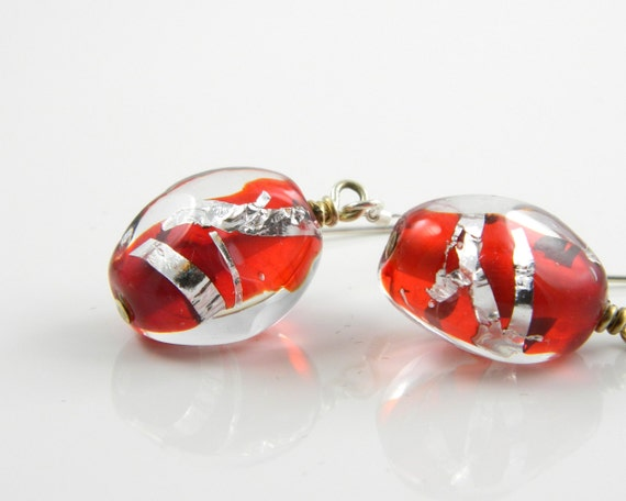 Red and Silver Lampwork Glass Earrings with Sterling Silver Ear Wires, Red Drop Earrings