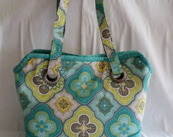 Aqua, Yellow, and Gray Medium Tote Handbag