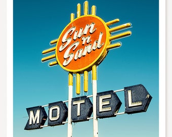 Sun 'n Sand - Route 66 Photograph - Vintage Neon Sign Photo - Retro Motel Sign Art - Mid Century Modern Decor - Roadside Travel Photography