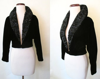 Gorgeous 1950's Black Velvet Cocktail Evening Jacket with Sequin Collar and Dolman Sleeves Rockabilly VLV Pinup Classic Chic Size-Medium
