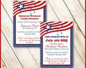 Red White & Blue Invitation / Patriotic Stars and Stripes / Fourth of July, Memorial Day, Graduation, BBQ, Reunion, Birthday / DIY Printable