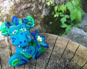 Polymer Clay Flower Dragon 'Caerulea' - Limited Edition Handmade Collectible