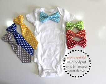 POLKA DOT Baby Bow Tie Outfit or Toddler Shirt.  Navy polka dot tie. Toddler tie. Red polka dot bowtie. Baby Ties. Orange Yellow Blue Green