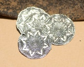 Sugar Skulls Flower 20g 23mm Disc Blanks for Enameling Polished Textured Blank Shape - Variety of Metals