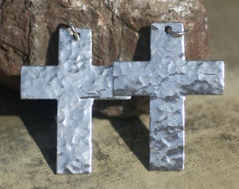 Hammerd Cross with Loop Sterling Silver Textured Blanks Cutout for Enameling Stamping Texturing