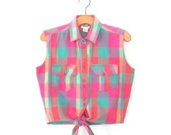 Madras Blouse * Vintage Tie Front Shirt * 90s Plaid Crop Top * Large