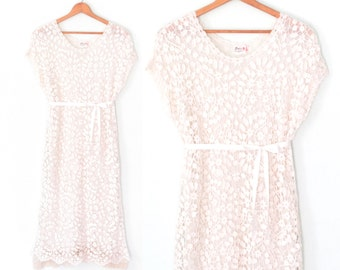 White Lace Dress * Vintage Floral Dress * Lace Shift Dress * Small - Medium