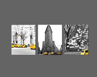 SALE, Black and White New York Photography, NYC Art, Yellow Taxi, Set of 3 Prints, NYC Art, Yellow Cab, New York Print Set, Save 50%