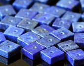 7mm Lapis Lazuli Tile Beads - Jewelry Making Supplies -   Gemstone Disk Beads - (20 beads) Blue