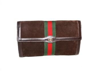 GUCCI Vintage Clutch Brown Suede Large Web Stripe Handbag - AUTHENTIC -