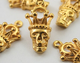 10 pcs. Zinc Gold Skull Skull Crown Head Charms Pendants Decorations Findings 14x28 mm. SK 304
