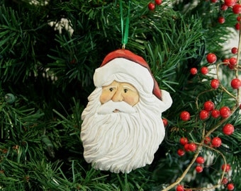 hand carved Merry Olde Santa,collectible Christmas Ornament for your tree,hand painted detailed Santa Claus,wood carved,holiday,winter,gift