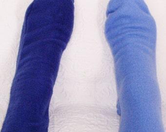 Ladies Fleece Socks, Women's Socks, Light or Royal Blue Socks, Warm Fleece Socks, Handmade Senior Citizen Gifts under 10 Dollars, Warm Socks