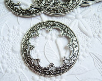 2 - Antique silver round ornate frame stampings - KL170