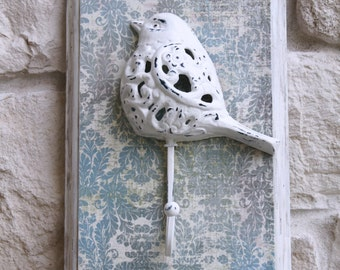 Bird Wall Hook, Cast Iron, Mounted on Reclaimed Wood, White, Pale Blue and Ivory, Distressed