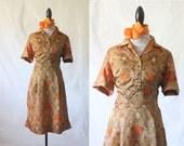 c1960's Autumnal Acetate Print Dress with Scarf Sz L