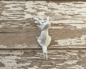 Deer Head Hook - Cast Iron Wall Decor - White Distressed #275
