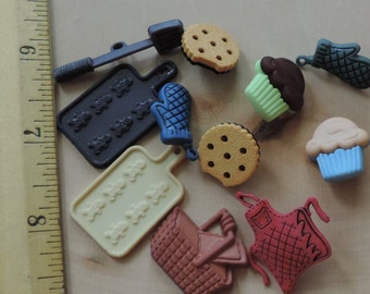 Baking Buttons, Packaged Novelty Button Assortment by Buttons Galore, Fun With Food, Style 4090, Includes Cookies, Cupcakes and More