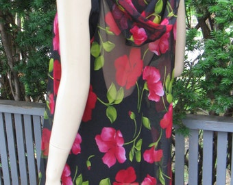 Vintage 80s Cole of California Sheer Black & Pink Floral Beach Coverup with Hoodie,  Small - Medium