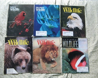 6 International and NATIONAL WILDLIFE MAGAZINES from 1995, Great Magazine about Animals, Nature, Enviroment