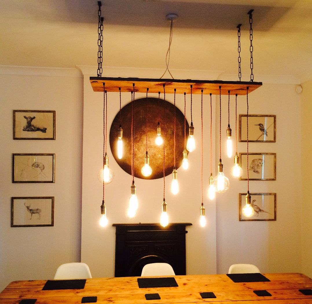17 pendant light wood fixture reclaimed rustic by hangoutlighting. Black Bedroom Furniture Sets. Home Design Ideas