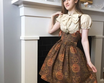 Steampunk Lolita Corset Dress- underbust corset dress, steel boned, custom made, custom printed fabric