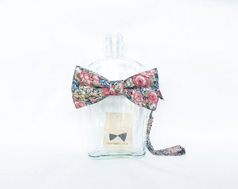 Fleur - Pink/Blue Floral Men's Pre-Tied Bow Tie or Self-Tied Bow Tie