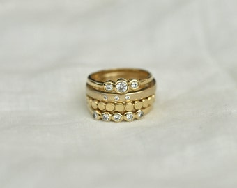 Stack of Four Gold Rings (Yellow or Rose Gold)