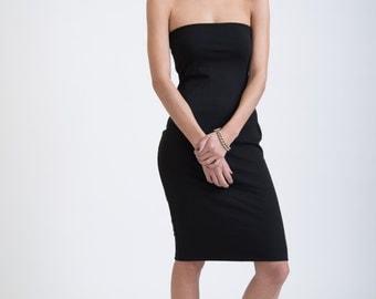 Black Tube Dress / Black Dress / Casual Fitted Dress / Cocktail Dress / marcellamoda Signature Design - MD258