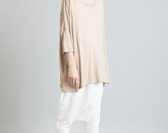 Slouchy Top / Oversized Blouse / Short Sleeve Top / Summer Top / Off Shoulder Top / marcellamoda - MB070