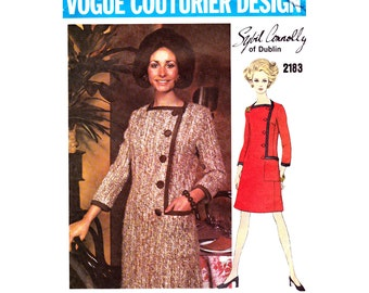 60s SYBIL CONNOLLY Asymmetric Coatdress Pattern Vogue Couturier Design 2183 Vintage Pattern Size 10 Bust 32 1/2 inches UNCUT Factory Folds