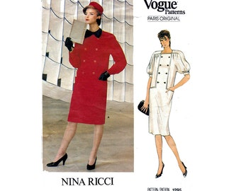 80s NINA RICCI Coatdress Pattern Vogue Paris Original Button Front Dress Sewing Pattern Size 14 Bust 36 inches